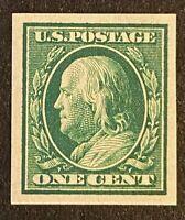 US Stamps, Scott #383 1c 1910 Franklin Imperf  XF/Superb M/NH. Balanced margins