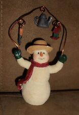 """Resin Snowman 3.75"""" Christmas Holiday Ornament  - Very Good Condition"""