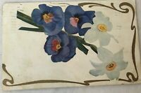 Postcard Posted 1908 Flowers Floral Gold Purple White Divided Back