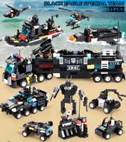 8pcs/lot 695Pcs City Police SWAT Truck Building Blocks Sets Ship Vehicle Technic