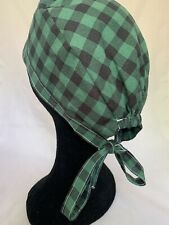 Green/ Black Checkerboard Chef Skull Cap Hat