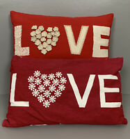 Bundle Of Two Red Love Cushions Embellished One Is John Lewis 72% Wool