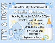 20 BLUE ELEPHANT BABY SHOWER INVITATIONS  W/ENVELOPES