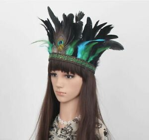 Peacock Feather Crown Festival Feather Headpiece Showgirl Headdress