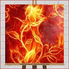 """Fire Flower Rose Framed Box Canvas Print Picture 20""""x20"""" Red Orange Black Yellow"""