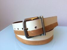 Men's Bill Adler White & Tan Leather Belt size 40
