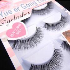 Naturally Wispy Black False Upper Eyelashes Long Thick Soft Design 5 Pairs / Lot