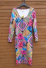 NEW Nicki Minaj Colorful Psychodelic Floral & Geometic shapes Med Bodycon Dress