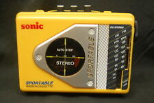 Cassette Stereo Sonic Sportable Radio GE Headphones Vintage  Belt Clip Yellow