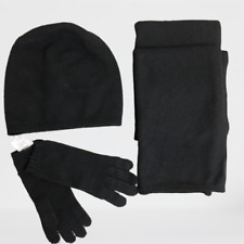 Womens UGG Australia 100% Cashmere Scarf Glove Beanie Hat Gift Set Black