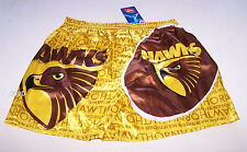 Hawthorn Hawks Logo AFL Mens Yellow Brown Satin Boxer Shorts Size M New