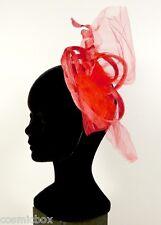 Chapeau de cérémonie femme pince RUE du BAG rouge made in France mariage soirée