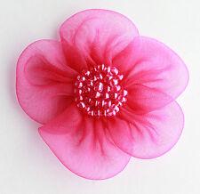 5 x grandi organza fiori Sew ON APPLIQUE Dimensioni: 45mm di colore: CILIEGIA # 2