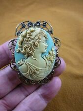 (CL14-24) NOBLE Lady strong woman blue oval CAMEO Pin Pendant Jewelry brooch