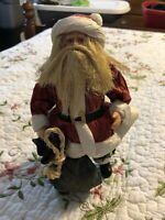 "Vintage Santa Claus With Toy Sack Figurine Cloth Paper Mache 8.5"" Folk Art"