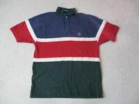 VINTAGE Tommy Hilfiger Polo Shirt Adult Medium Red Green Color Block Crest 90s *
