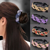 Women Leaf Hair Clip Crystal Claw Ponytail Holder Rhinestones Hairpin Acces