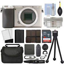 Sony Alpha a6300 Mirrorless Digital Camera with 16-50mm Lens Silver + 16GB Kit