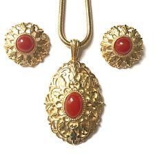Enorme Crown Trifari Cornalina Cabujón Oro Vintage Colgante Collar Set