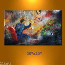 111arts original oil painting romantic night life woman man love drink dinner