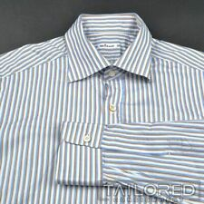 KITON White Blue Brown Striped 100% Cotton Mens Luxury Dress Shirt - 16.5