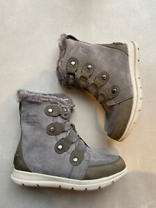 Sorel Joan Explorer Grey Suede Size 37 US6 NEW In The Box