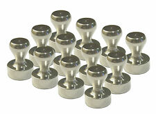 Brushed Nickel Magnetic Push Pins Strong Rare Earth Neodymium Magnets 12 Pack