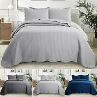Quilted Embossed Bedspread With Pillow Shams Single Double King Bed Throw Set