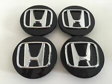 SET OF 4 69mm OR 2.75 BLACK WHEEL BADGE CENTER CAPS FOR ACCORD CIVIC PILOT