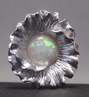 Natur Opal Silberanhänger Blume 925 Sterling Silber Anhänger mit Stein rund weiß
