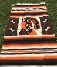 Guatemalan South American Wool Blanket Textile Art Handwoven Throw Cabin Ranch