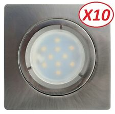 Lot de 10 Spot Led Encastrable Satin Fixe Carré  lumière Blanc Neutre 5W eq. 50W