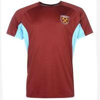 West Ham United FC Crest T-Shirt Mens Claret/Blue Football Soccer Top Tee Shirt