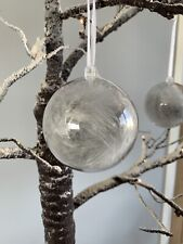 4 Grey Feather Christmas Baubles, Decorations Boxed