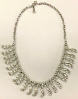 Vtg Sarah Coventry Silver Tone Chain & Drop Beaded Bib Textured Deco Necklace
