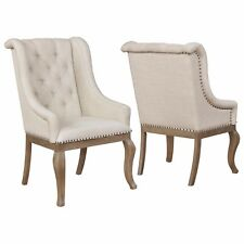 Light Barley Brown Dining Accent Arm Chair with Nail Head Trim 107733 - Set of 2