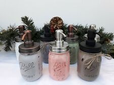 Bespoke Ball Mason Jar Soap Dispenser Hand Painted 16 ounce with Stainless Steel