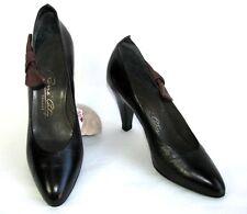 RENE COTY - Escarpins vintage tout cuir cuir noir marron 35.5 - TRES BON ETAT