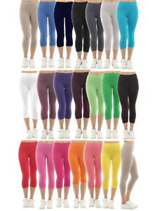 Damen Capri 3/4 Leggings kurze Hose Leggins Baumwolle