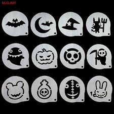 12Pcs Halloween Mold Cappuccino Coffee Milk Cake Cupcake Stencil Baking Template