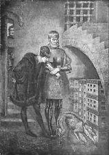 LOUIS XI visitant le CARDINAL LA BALUE dans sa CAGE de FER -Planche du 19e siècl