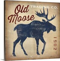 Old Moose Trading Co.Tan Canvas Wall Art Print,  Home Decor