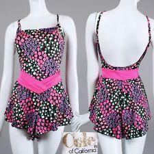 New listing L Vintage 1960s Cole Floral Swim Bathing Play Suit Skirt one piece Romper 60s