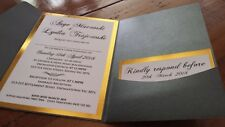 Wedding Invitation Pocket with Envelope, Custom Gold or Silver Foil