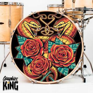 Custom Personalized Bass Drum Sticker Band Logo Printed Bubble Free Kick Name UK