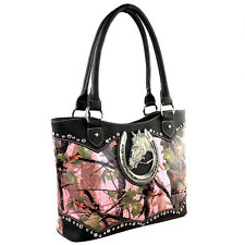 Montana West Western Collection Wide Tote  Handbag Pink Camo