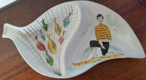 Vintage Retro Italian Pottery Ceramic Fisherman Segmented Serving Plate Dish