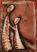 Acrylic ACEO painting abstract /inspiration/mother and child/Love/native