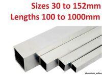 ALUMINIUM SQUARE BOX SECTION TUBE 30mm, 40mm, 50mm 55mm, 60mm, 65mm. 100mm, 150