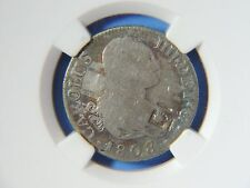 1841 Trinidad Lattice KM-2 C/S on 1808 Spain Silver 2 Reales NGC Countermarked